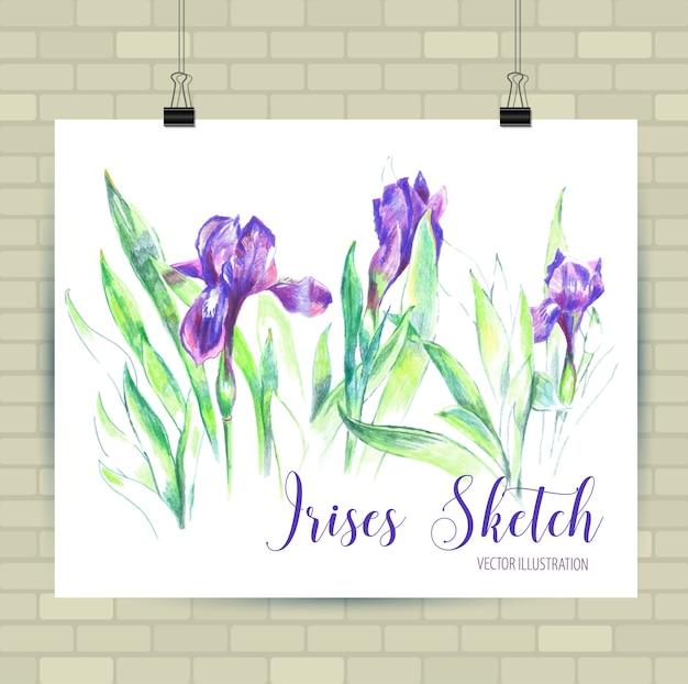 Esboçar a ilustração em formato vetorial. cartaz com lindas flores.