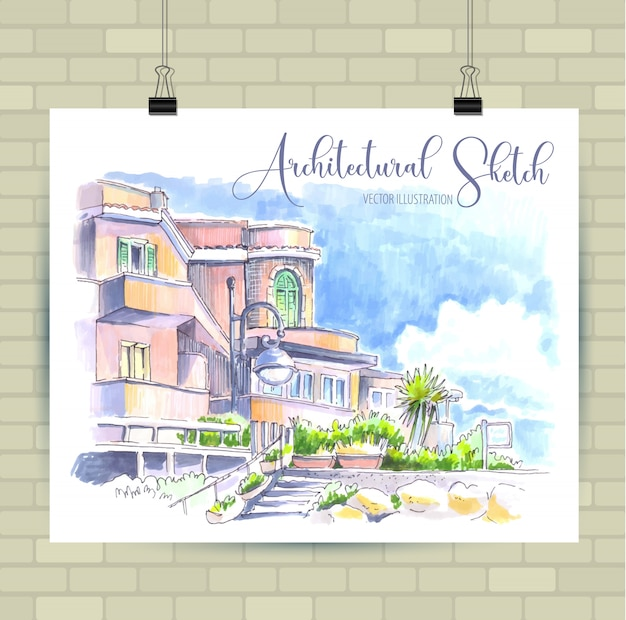 Esboçar a ilustração em vetor. cartaz com bela paisagem e elementos urbanos.