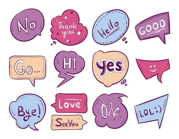 Esboçar bolha do discurso do doodle com frases de comunicação.