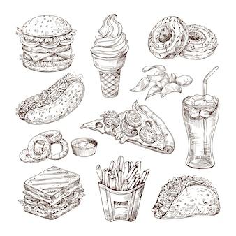Esboçar fast-food.