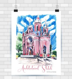 Esboçar ilustração com bela igreja