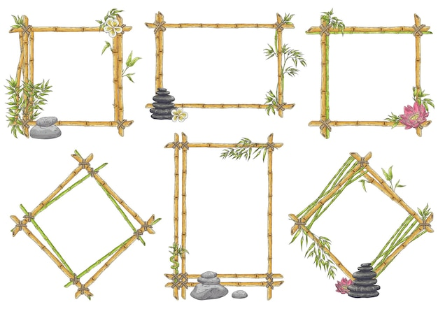 Esboçar moldura de bambu com conjunto de seixos zen