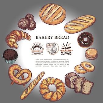 Esboçar produtos de panificação redonda composição com pão baguete francês croissant pretzel muffin donuts bagels e emblemas de padaria