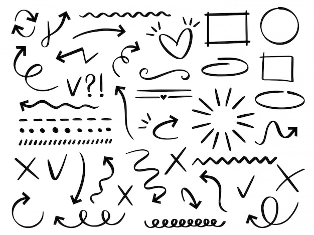 Esboçar setas e quadros. seta desenhada mão, doodle divisor e círculo, conjunto de moldura oval e quadrada. coleção de diferentes símbolos abstratos. linhas pontilhadas e curvas. elementos de rabisco