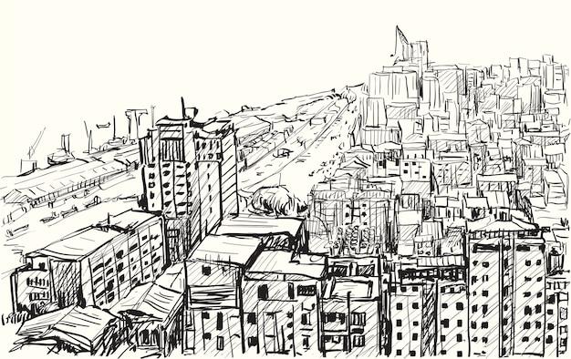 Esboce a cidade de yangon, o horizonte de mianmar, mostre o edifício no centro da cidade, desenho a mão livre