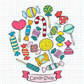 Esboce a coleção de doces e pirulitos coloridos