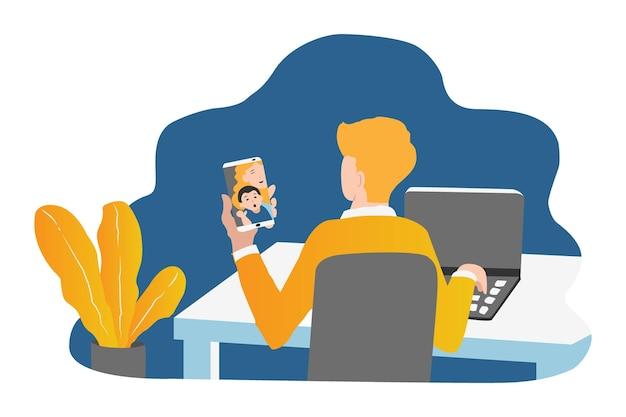 Esboce a ilustração à mão desenhando um homem trabalhando durante uma videochamada com o telefone