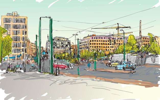 Esboce a paisagem urbana da rua de berlim com edifícios e pessoas caminhando ao longo da estrada, desenho à mão livre