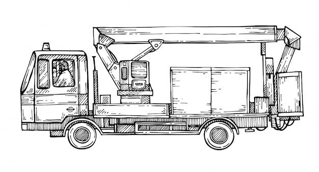 Esboce a plataforma aérea do caminhão. grua de camião. máquinas de construção