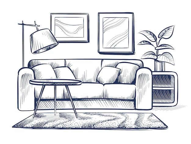 Esboce a sala de estar. doodle interior da casa com sofá, lâmpada e molduras. desenho à mão livre interior de vetor preto e branco em casa