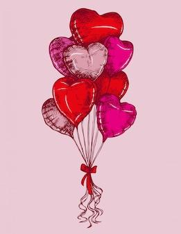 Esboce balões de forma de coração, cartão de são valentim.