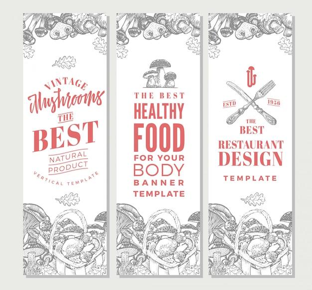 Esboce banners verticais de alimentos orgânicos
