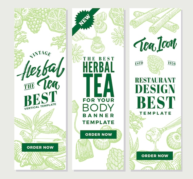 Esboce banners verticais de chá saudável