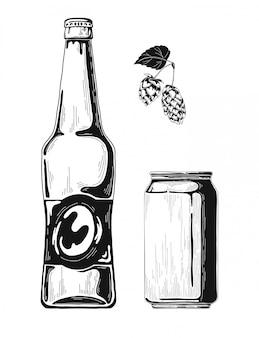 Esboce garrafas de cerveja e latas de alumínio.