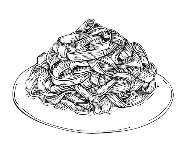 Esboce macarrão fettuccine italiano caseiro no prato.