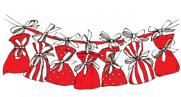 Esboce o calendário do advento de natal, sacolas penduradas em uma fita.