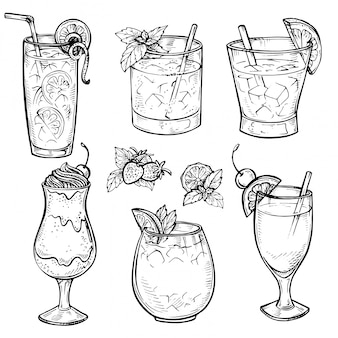 Esboce o conjunto de coquetéis e bebidas de álcool.