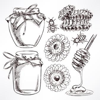 Esboce o conjunto de mel. potes de mel, abelhas, favos de mel. ilustração desenhada à mão