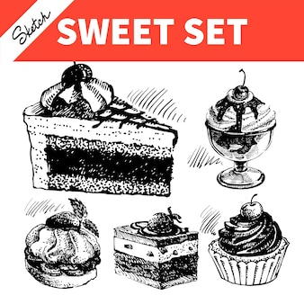 Esboce o conjunto doce. ilustrações desenhadas à mão de bolo e sorvete