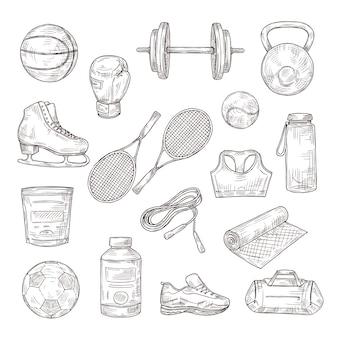 Esboce o equipamento esportivo. bola, halteres e raquetes de tênis, luva de boxe e pular corda, nutrição esportiva. conjunto de fitness doodle. ilustração de futebol e tênis, esboço de equipamento para esporte
