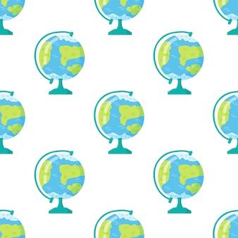 Esboce o globo e as folhas de outono em fundo branco. voltar para a escola doodle padrão sem emenda. globo terrestre dos desenhos animados. elemento de design para papéis de parede, plano de fundo do site da web, papel de embrulho.
