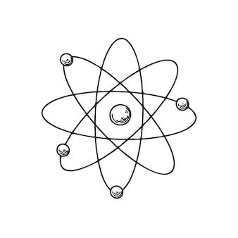 Esboce o ícone da estrutura atômica. sketch atom. símbolo de descoberta e química.