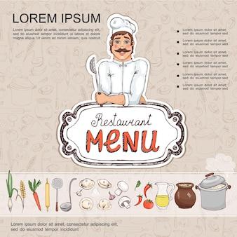 Esboce o modelo de menu de cozinha russa com o chef segurando um coador de vegetais, panela, tigela de sopa, suco, cogumelos, skimmer, concha, bolinhos, ilustração de rolo de massa,