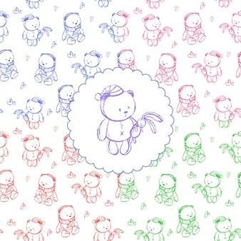 Esboce o padrão com um ursinho de pelúcia para um cartão-postal infantil ou lojas infantis. ilustração vetorial.