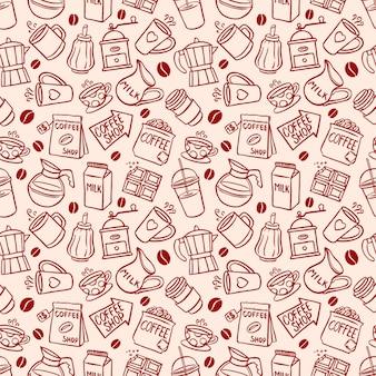 Esboce o plano de fundo sem emenda dos ícones de café. ilustração desenhada à mão