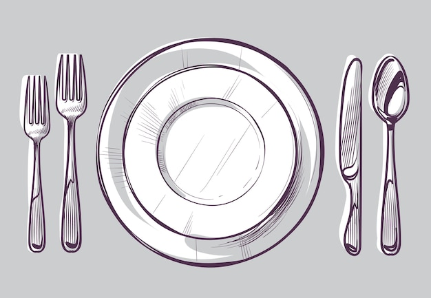 Esboce o prato, garfo e faca talheres de jantar e prato vazio na mesa