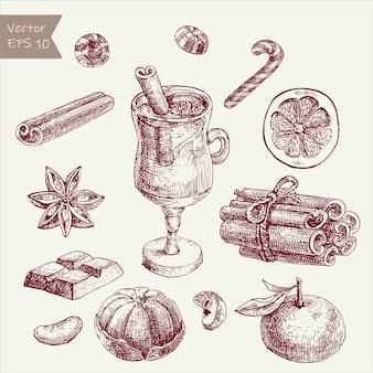 Esboce o vinho quente e as especiarias. desenhado à mão