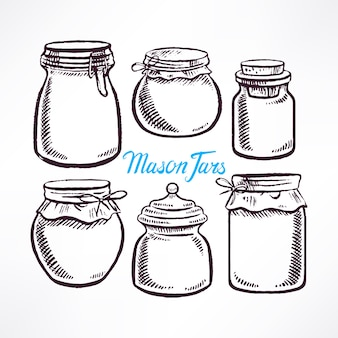 Esboce potes de pedreiro com formas diferentes. ilustração desenhada à mão