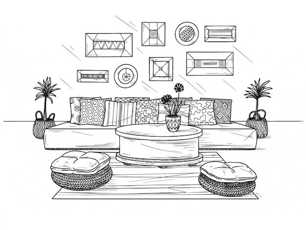 Esboce uma aconchegante sala de estar no estilo boho. sofá, mesa e vários elementos de decoração. ilustração