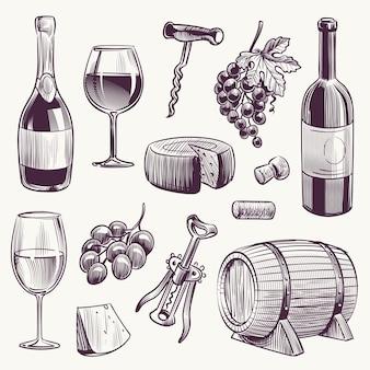 Esboce uma garrafa de vinho e taças de vinho, uva e barril de madeira