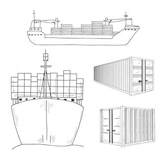 Esboce vários contêineres e navios de carga. desenhado à mão.
