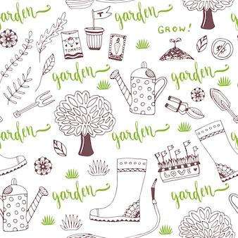 Esboço a mão do vetor padrão de jardim com pacotes de sementes, ferramentas, árvores e lata de rega. vector padrão sem costura de ferramentas de jardinagem