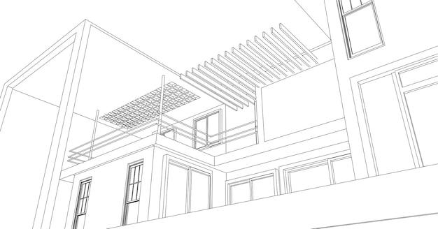 Esboço abstrato arquitetônico.