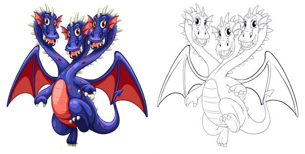 Esboço animal para dragão de três cabeças