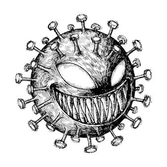 Esboço assustador de ilustração dos desenhos animados de vírus corona