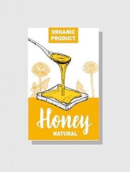 Esboço cartaz de mel. mão desenhada ilustrações de estilo vintage. modelo de cartão. fundo retrô.