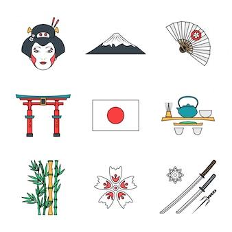 Esboço colorido conjunto de vários ícones do japão