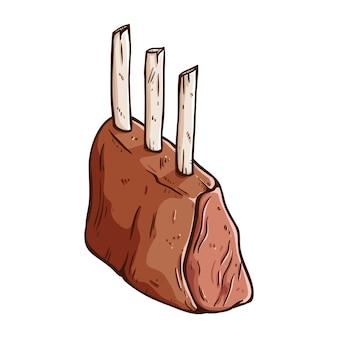 Esboço colorido ou mão desenhada de bife de carne delicioso