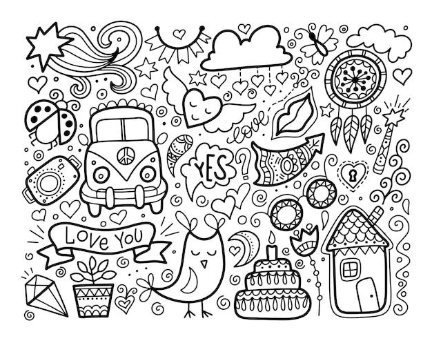 Esboço conjunto de amor doodle, elementos preto e branco, coleção