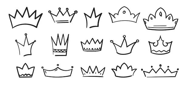 Esboço coroa desenhada à mão tiara rei rainha doodle símbolo do diadema real conjunto logotipo simples heráldico vintage