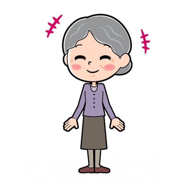 Esboço da avó com expressão feliz