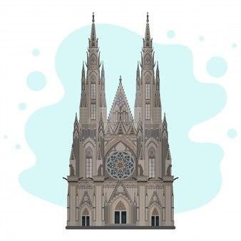 Esboço da catedral de são vito. catedral gótica de alto detalhe. marco de praga, praga, república tcheca. adequado para o design de cartões postais, livretos, banners de viagens e pôsteres.