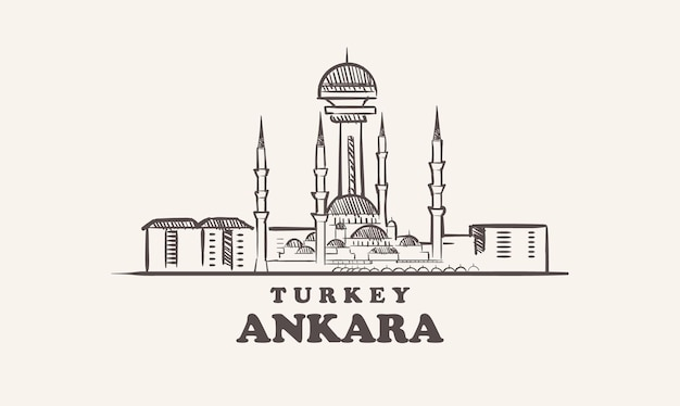 Esboço da cidade de ancara desenhado à mão ilustração da turquia
