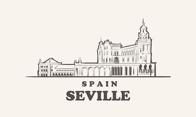 Esboço da cidade de sevilha com ilustração desenhada à mão em espanha