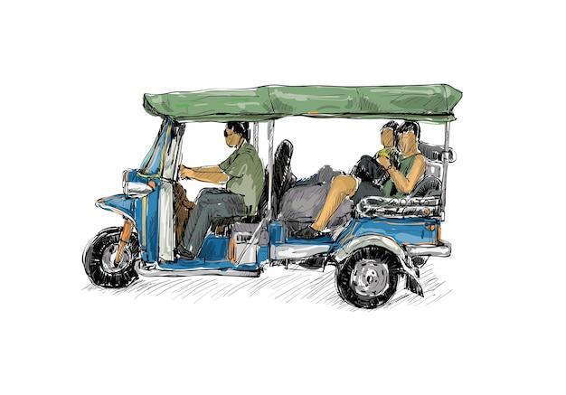 Esboço da cidade de transporte mostra a tradicional moto de táxi tuk-tuk na tailândia, ilustração