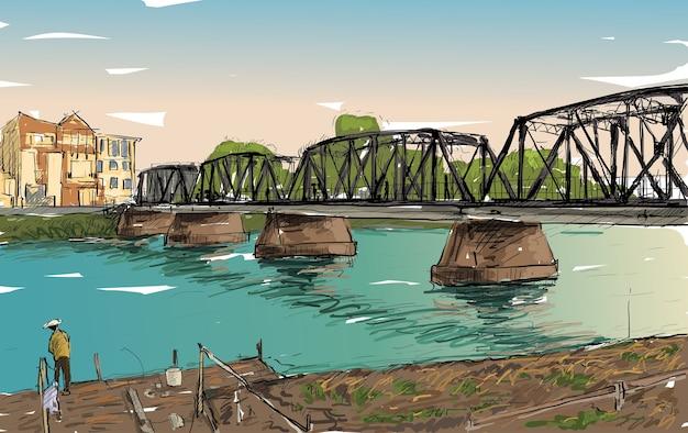 Esboço da cidade mostra ponte de ferro em chiangmai, tailândia, ilustração